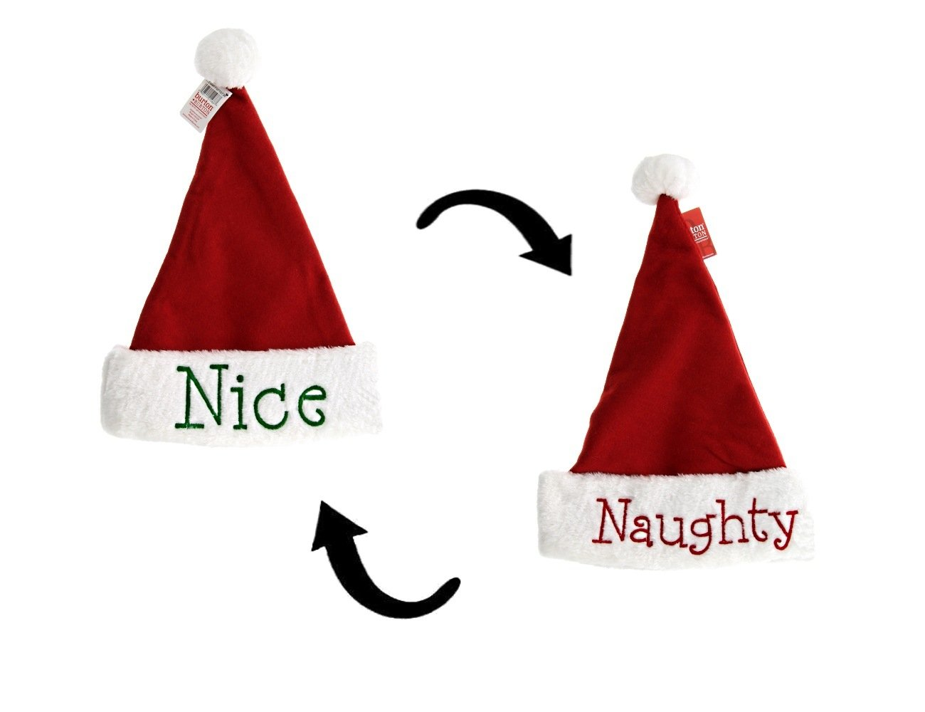 Burton & Burton Naughty or Nice Santa Hats, 4pk, Festive Holiday Christmas Hats with Hand Stitched Naughty in Red on one side and Nice in Green on the other, Reversible (4 Hats) by Burton & Burton (Image #2)