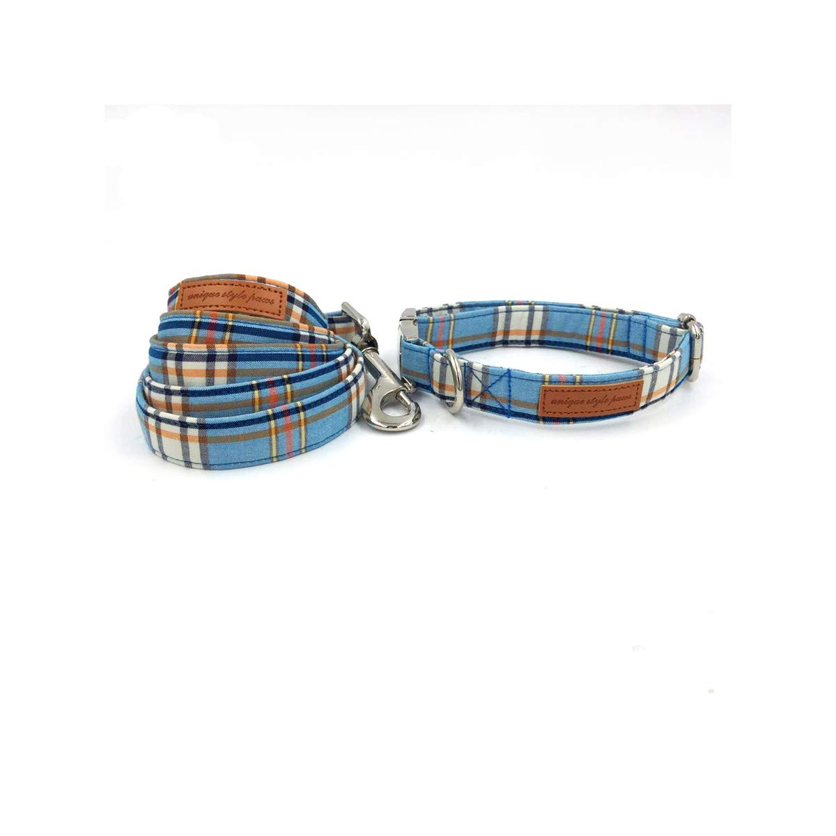 Jesiceeal bluee Plaid Dog Collar with Bow Tie Basic Dog Cotton Dog &Cat Necklace for Pet Gift Collar and Leash XS
