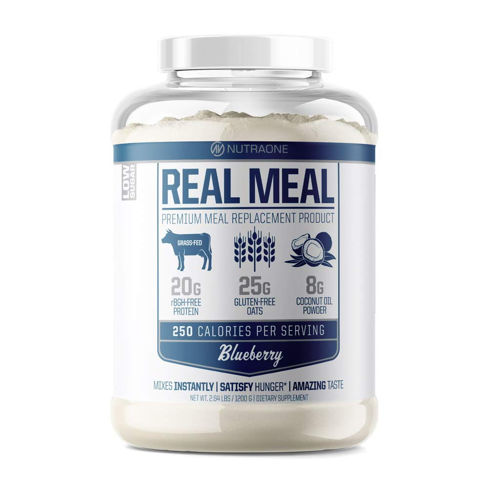 Real Meal Premium Meal Replacement Powder by NutraOne Gluten Free, Low Sugar Meal Replacement Protein Powder Blueberry 2.6 lbs.