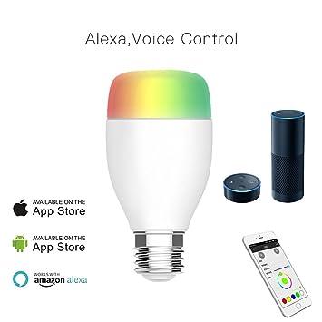 Inalámbrico WiFi bombilla LED – regulador de intensidad, multicolor Luces funciona con Alexa, iOS