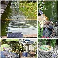 AISITIN Solar Fuente Bomba, 6.5W Fuente de Jardín Solar, Batería Incorporada, Caudal 500 L/H, con 6 Boquillas y Tabla Flotante para Pequeño Estanque, Baño de Aves, Fish Tank y Decoración del Jardín: