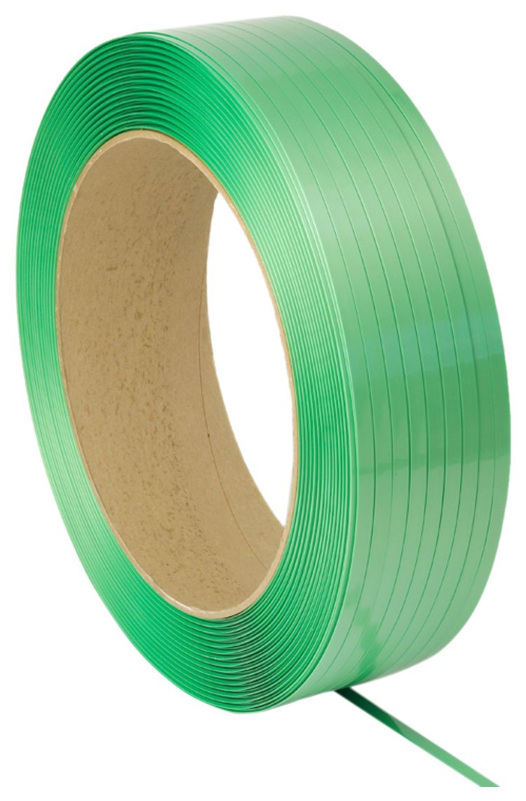 PAC Strapping 5835146G40W-AAR Polyester Waxed AAR Approved Strapping for Most Friction Weld Tools, 4000' Length, 5/8'' Width, 0.035'' Thick, Green