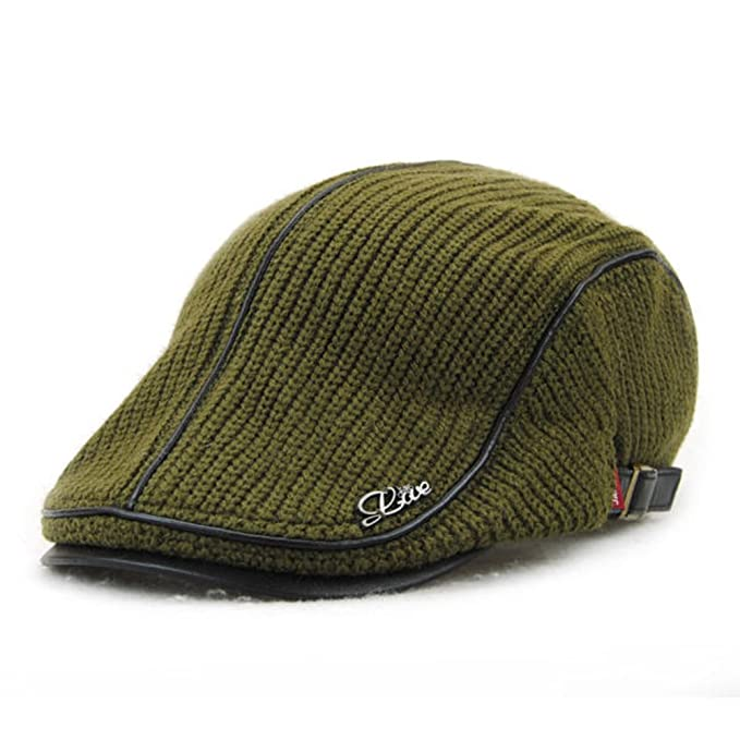 e5476b725e6af HSRT Unisex Knitted PU Leather Beret Hat Knitting Buckle Paper Boy Newsboy  CabbieArmy Green