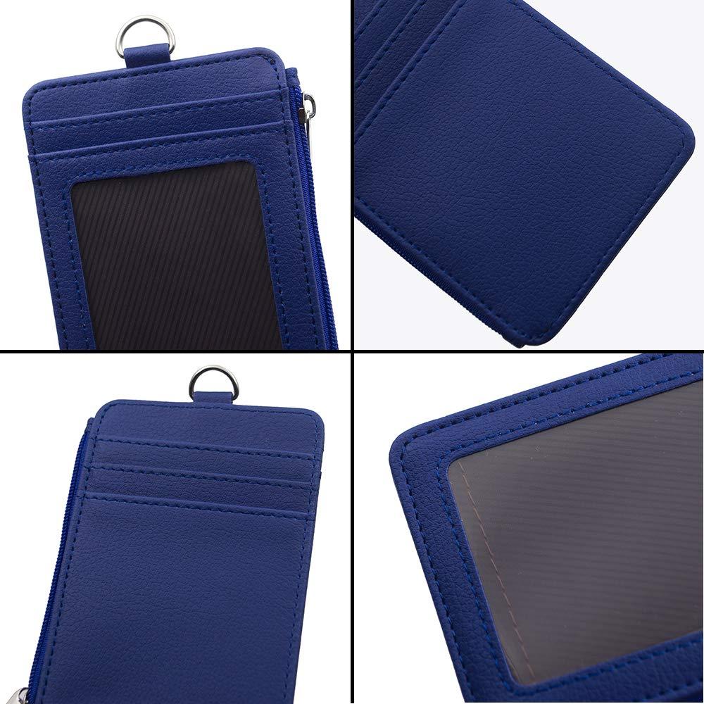 porte-carte didentit/é avec 5 emplacements pour cartes 1 poche lat/érale et cordon tour de cou r/étractable de 50,8 cm taille unique bleu Porte-badge avec fermeture /Éclair