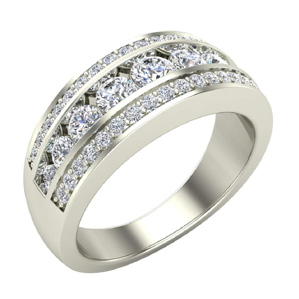 1.00 ct tw Three Rows Graduating Diamond Wedding Band Ring 18K White Gold (Ring Size 7.5) by Glitz Design
