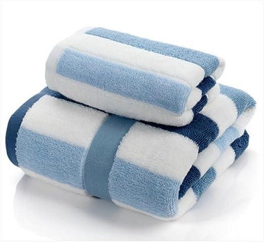 Wddwarmhome Toallas de baño de rayas azules y blancas Toallas de ...