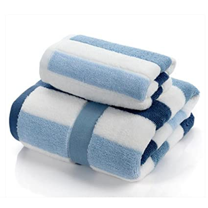 Wddwarmhome Toallas de baño de rayas azules y blancas Toallas de algodón absorbentes Toallas de baño