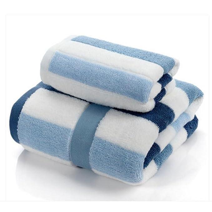 Wddwarmhome Toallas de baño de rayas azules y blancas Toallas de algodón absorbentes Toallas de baño Toallas de baño 2 Toallas 2: Amazon.es: Hogar