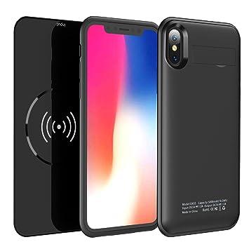 Funda para iPhone X con Qi de Carga inalámbrica - 2 en 1 batería Recargable de protección extendida con batería de Carga con batería magnética ...