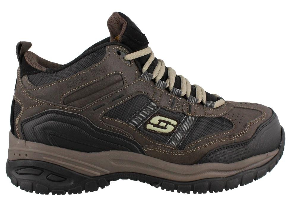 Skechers Men's Work Relaxed Fit Soft Stride Canopy Comp Toe Shoe, Brown/Black - 16 D(M) US
