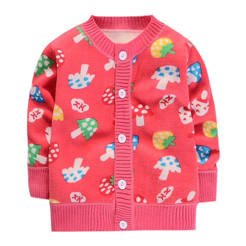 Staron Toddler Sweet Sweaters Baby Girls Winter Cartoon Button Warm Tops Clothes