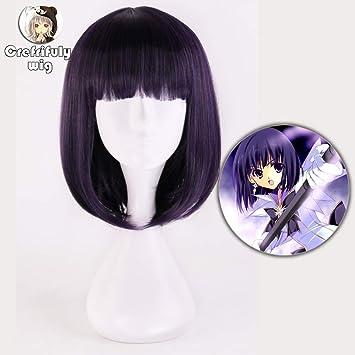 Kuzu No Honkai Cosplay peluca corta púrpura oscuro Bob pelo ...