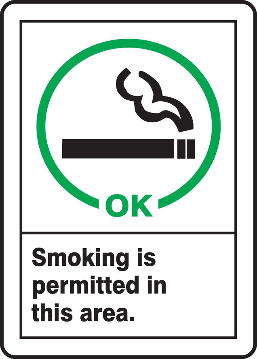 LegendSMOKING IS PERMITTED IN THIS AREA Accuform MRMK500VP Sign 14 x 10 14 Length x 10 Width x 0.055 Thickness Green//Black on White Plastic