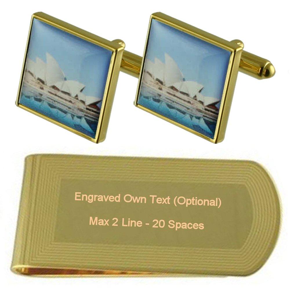 Sydney Opera House Gold-tone Cufflinks Money Clip Engraved Gift Set