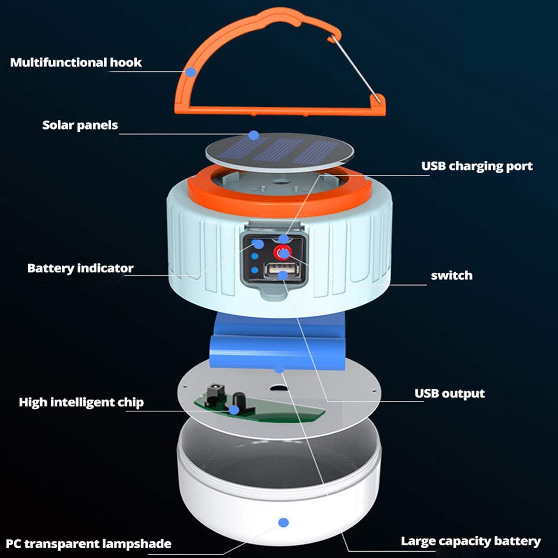 LED Campinglampe Solar USB Wiederaufladbar Camping Laterne Gartenlaterne Led Taschenlamp Wasserdicht 5 Helligkeiten Dimmbar 6000mAh Power Bank f/ür Stromausf/ällen Wandern Ausf/älle usw. SOS Notfall