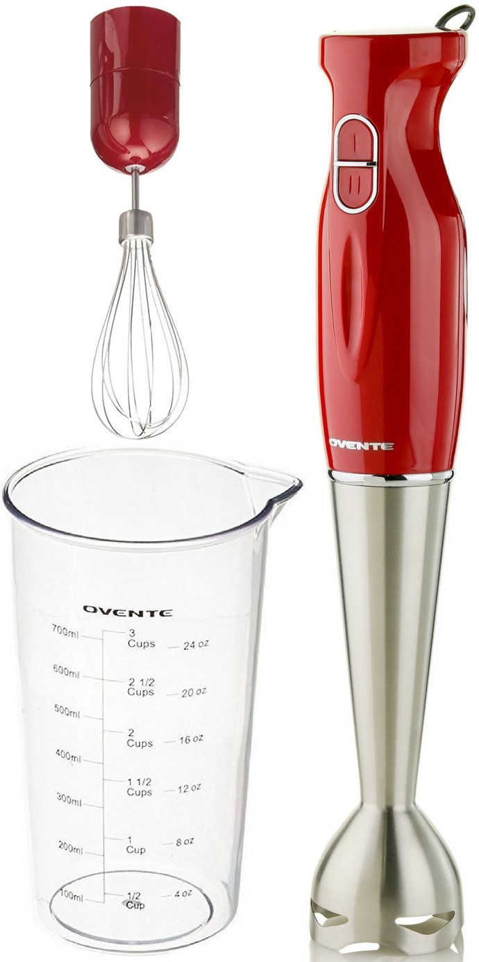 Ovente Multi-Purpose Immersion Hand Blender Set – 300-Watts, 2-Speed – Stainless Steel Blades and Detachable Shaft – Includes Egg Whisk and BPA-Free Beaker (24 oz) – Red (HS583R) by Ovente (Image #2)