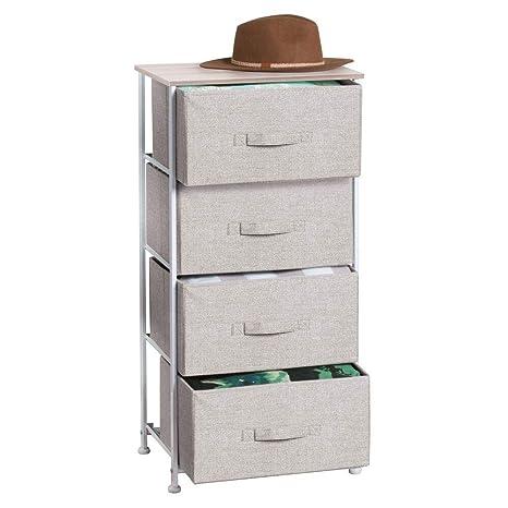mDesign Comoda con 4 cajones - Organizador de armarios y vestidores en tela - Cajoneras para armarios, para el dormitorio o el cuarto de los niños - ...