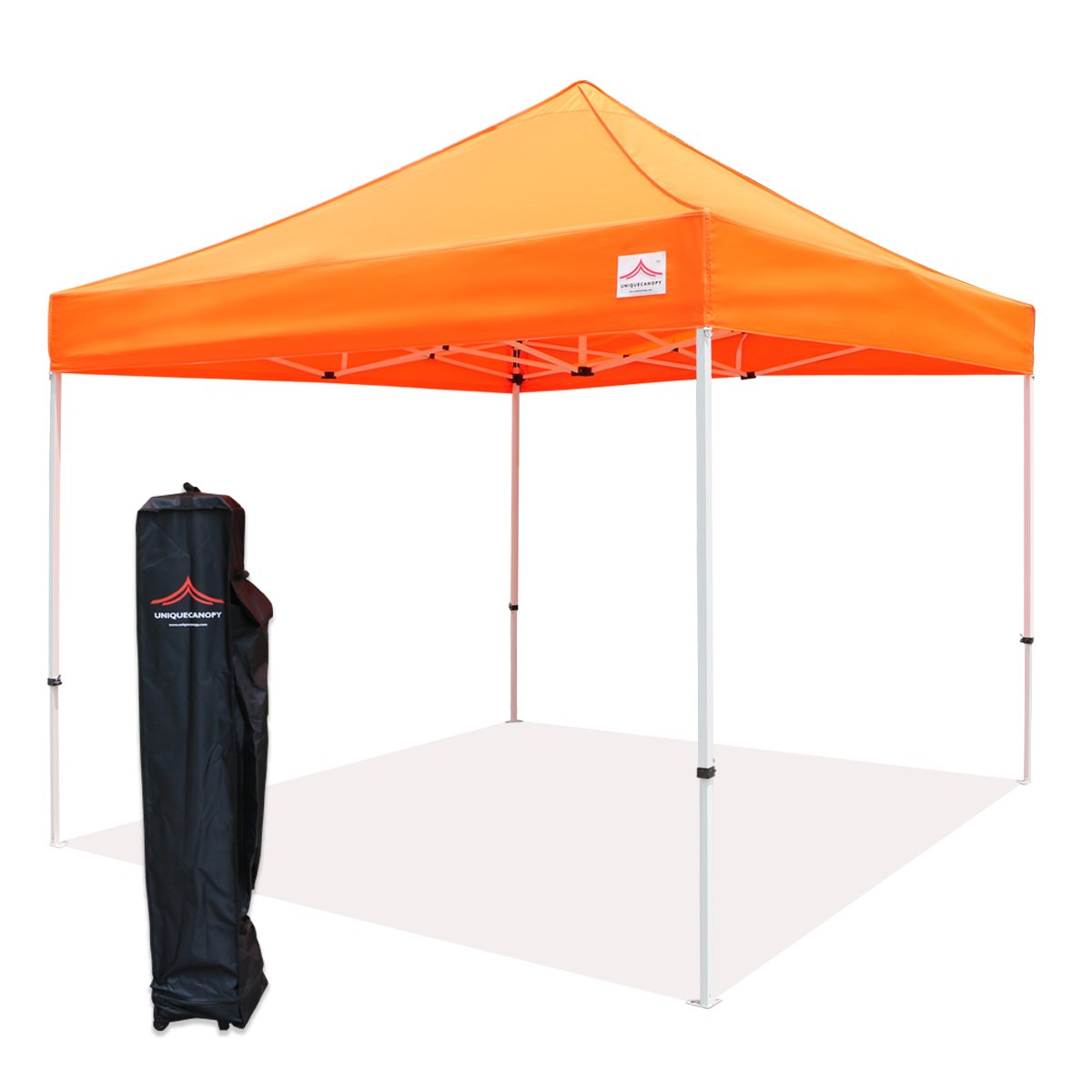 UNIQUECANOPY 10x10 Ez Pop up Canopy Tents for Parties Outdoor Portable Instant Folded Commercial Popup Shelter, with Wheeled Carrying Bag Orange