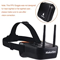 Makerfire 5.8Ghz Mini FPV Goggles 3 inch 40CH FPV Video Headset Glasses with Double RP-SMA Antenna and Handbag Built-in…