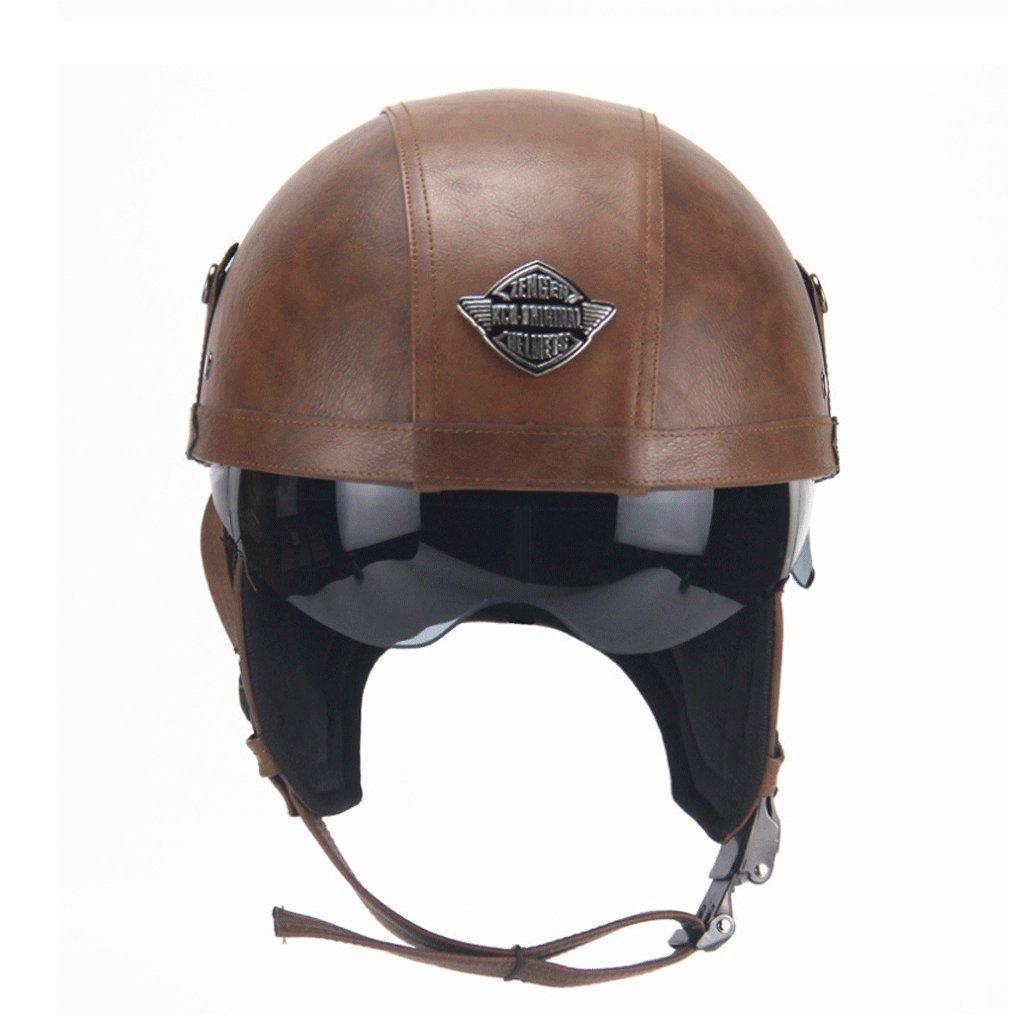DGF ヘルメットオートバイハーレーレトロハーフヘルメット夏期ペダル機関車クルーズヘルメットシーズンズ男性と女性のヘルメット (色 : ダークブラウン) B07F9WLZNG ダークブラウン ダークブラウン