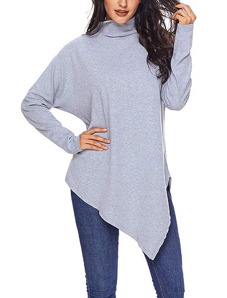HhGold Sudadera con Cuello de Tortuga Vogue para Mujer Camiseta de Manga Larga Casual Suelta Hem Irregular: Amazon.es: Ropa y accesorios