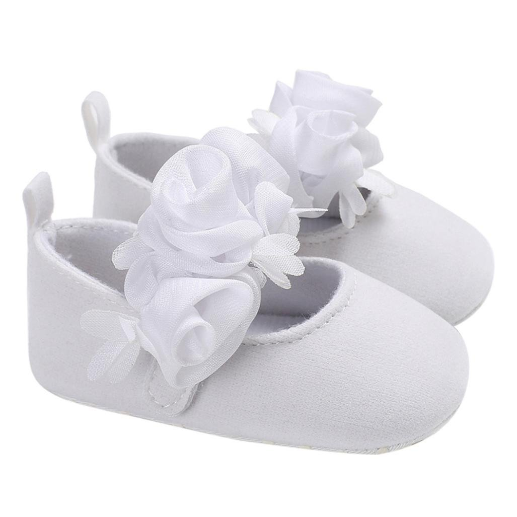 WARMSHOP Baby Infant Girls Flower Soft Sole Crib Prewalker Shoes