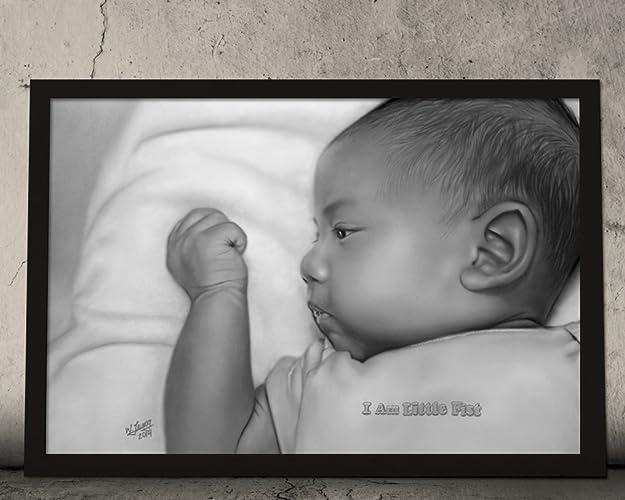 Amazon com: Original Baby Portrait Acrylic Painting - Modern