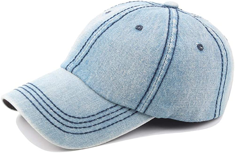ZITEZHAI-hat Simple Retro Baseball Cap Autumn Spring Ladies Men Washed Denim Baseball Cap Mens Cap Outdoor Leisure