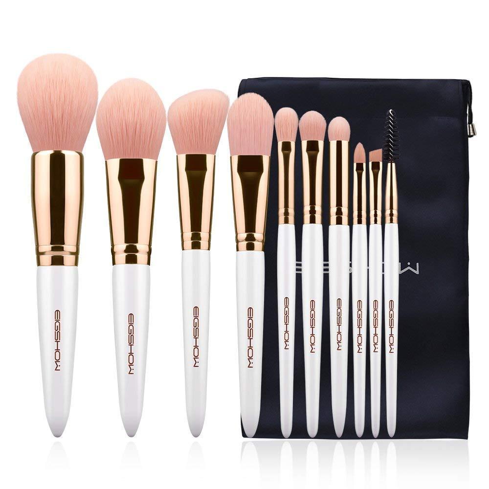 Makeup Brush Set 10Pcs Vegan Makeup Brush Set High-tech Nanometer Fiber Foundation Brush Travel Brush Concealer Cosmetic Eyeshadow Brush Sets