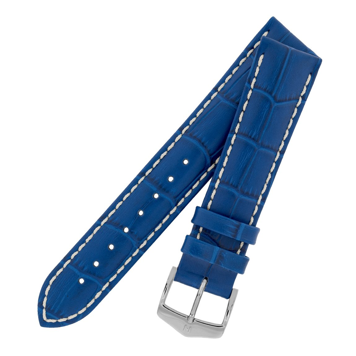 d96f0aa6f Hirsch Modena Alligator Embossed Leather Watch Strap with Buckle in Royal  Blue (18mm, Silver Buckle): Amazon.co.uk: Watches