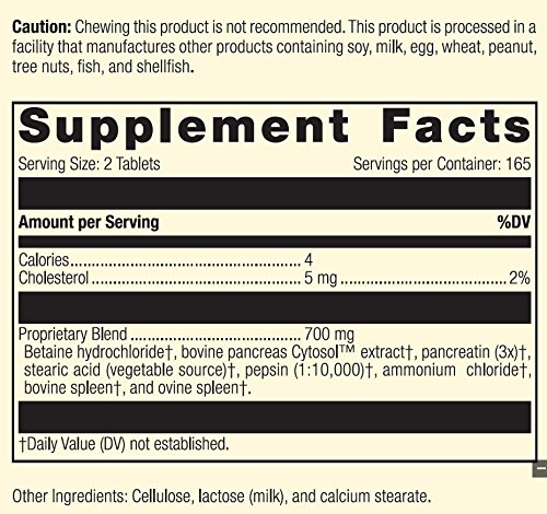 Standard Process - Zypan - Supports Healthy Digestion and Gastrointestinal pH, Enzymatic Support for Protein Digestion, Provides Pancreatin, Pepsin, Betaine Hydrochloride, Gluten Free - 330 Tablets by Standard Process (Image #3)