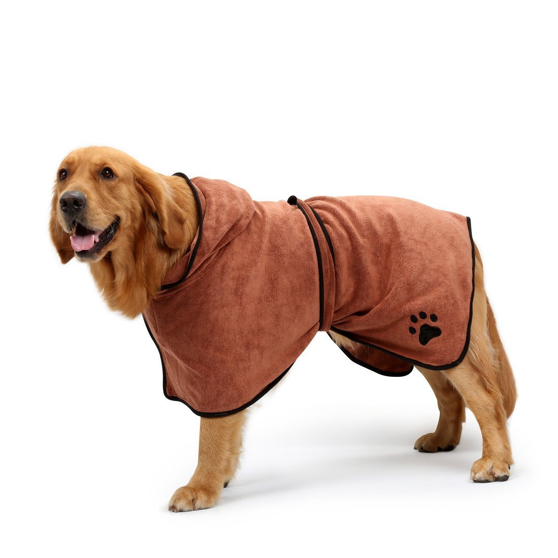 Brown Xlarge  back length 29\ Brown Xlarge  back length 29\ BONAWEN Dog Easy Wear Dog Towel Luxuriously Soft 100% Microfiber Pet Bathrobe Super Absorbent with Waist Belt&Hood(Brown,XL)
