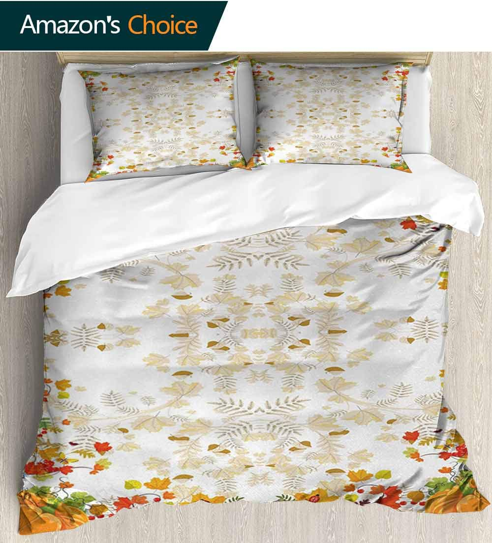 Thanksgiving 3 Piece Quilt Coverlet Bedspread,Fall Colors Ladybug Maple Leaf Woods Pine Nuts Berries Design Pattern All Season Lightweight Colorblock Kids Bedding Set(79''W x 79''L) WhiteYellow Orange