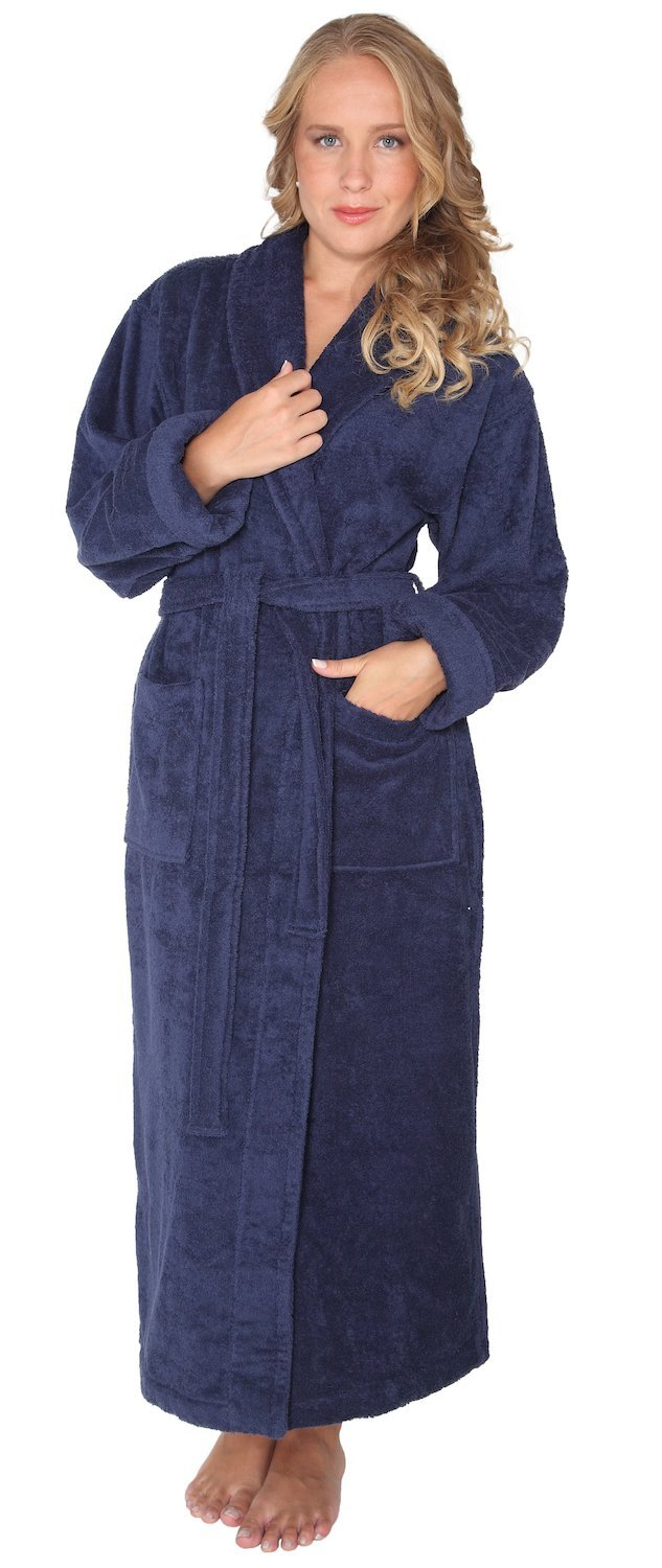 Arus Women's Optimal Style Full Length Thick Shawl Collar Turkish Bathrobe Navy Marine P/S