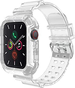 Compatible for Apple Watch Band Strap with Rugged Protective Case 38mm 40mm, Sports Transparent Soft Silicone Bands for iWatch Series 6/5/SE/4/3