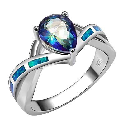 Weinuo Blue Topaz Blue Fire Opal Silver Gold Filled Ring Size M To T1/2 RZsXZP