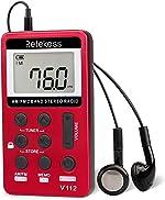 Retekess V112 AM FM Portable Pocket Radio Digital Tuning Stereo Volume