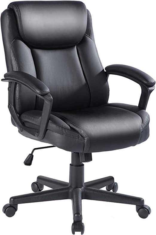 Qulomvs Ergonomic Office Desk Chair with Wheels Back Support Computer Executive Task Chair with Arms 360 Swivel Black