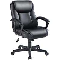 Qulomvs Computer Office Chair Spring Cushion Mid Back Executive Desk Chair with Arms PU Leather 360 Swivel Task Chair with Wheels Lumbar Support (Black)