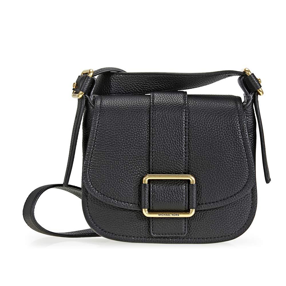 f3a893949b9dc Michael Kors Maxine Medium Leather Saddle Bag - Black  Handbags  Amazon.com