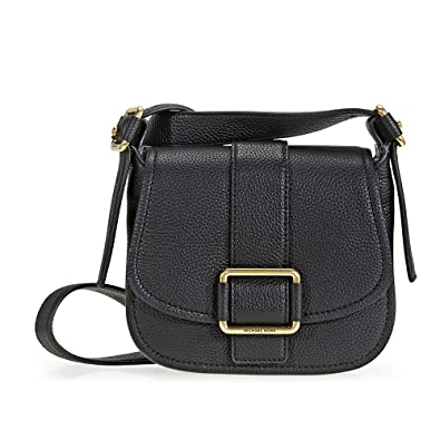 560dbb2875de Michael Kors Maxine Medium Leather Saddle Bag - Black  Handbags  Amazon.com