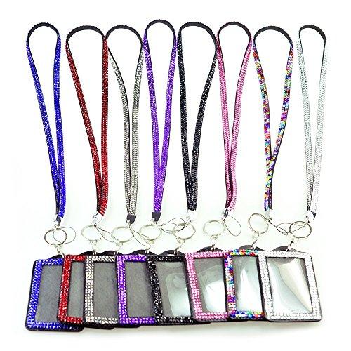 Bling Combo Horizontal Purple ID Card Holder & Lanyard Acrylic Rhinestone Style Lanyard Neck Strap Swivel Metal Clip