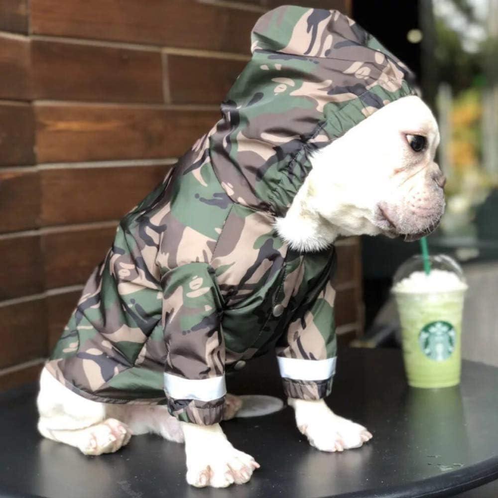 Yuanou Ropa Impermeable para Perros Bulldog francés Ropa para Perros Pug Ropa Impermeable para Mascotas Chaqueta Impermeable para Perros Reflectante