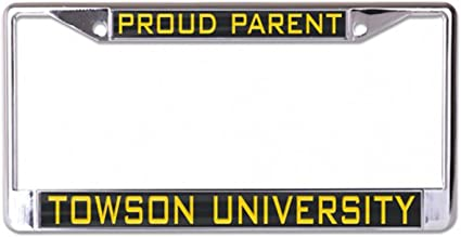 Black WinCraft Towson University Tigers Alumni License Plate Frame 2 Mount Holes Metal with Inlaid Acrylic