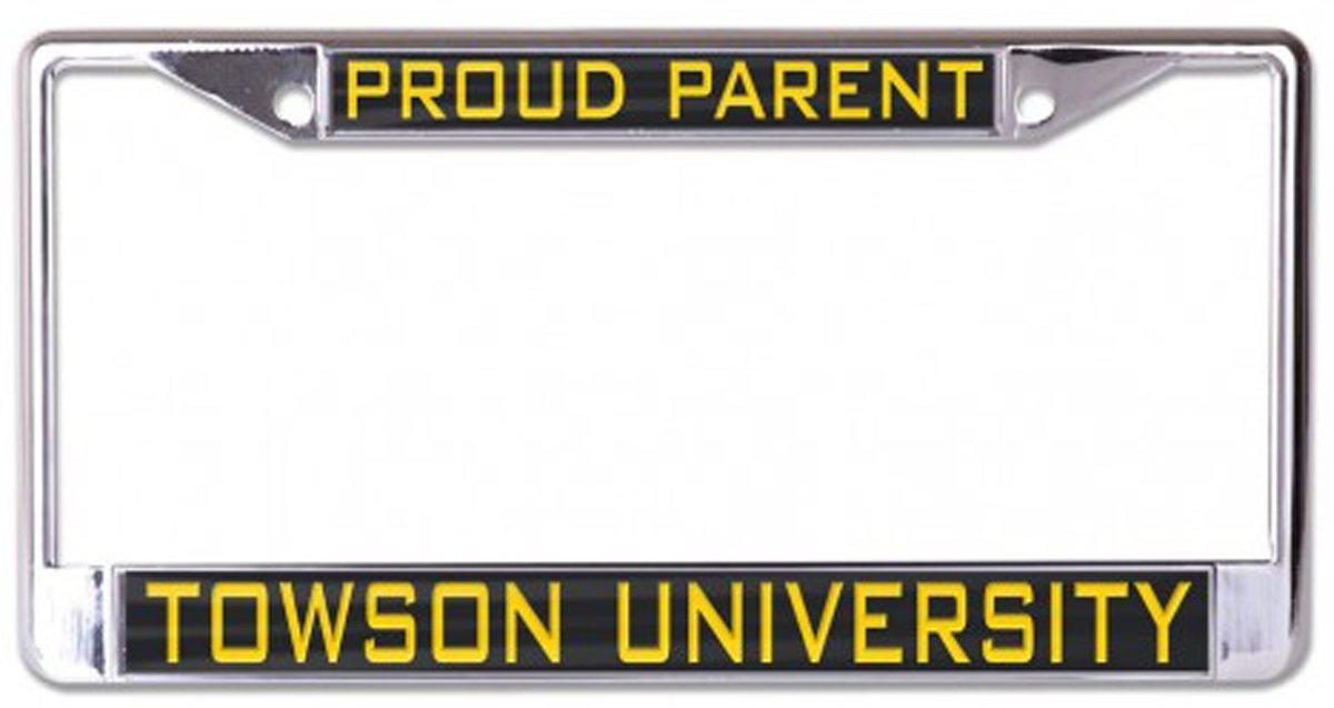 Black 2 Mount Holes Wincraft Towson University Proud Parent License Plate Frame Metal with Inlaid Acrylic