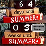 COUNTDOWN TO SUMMER! Reversible and interactive wood word stacking block set for summer countdown for home and classroom decor...