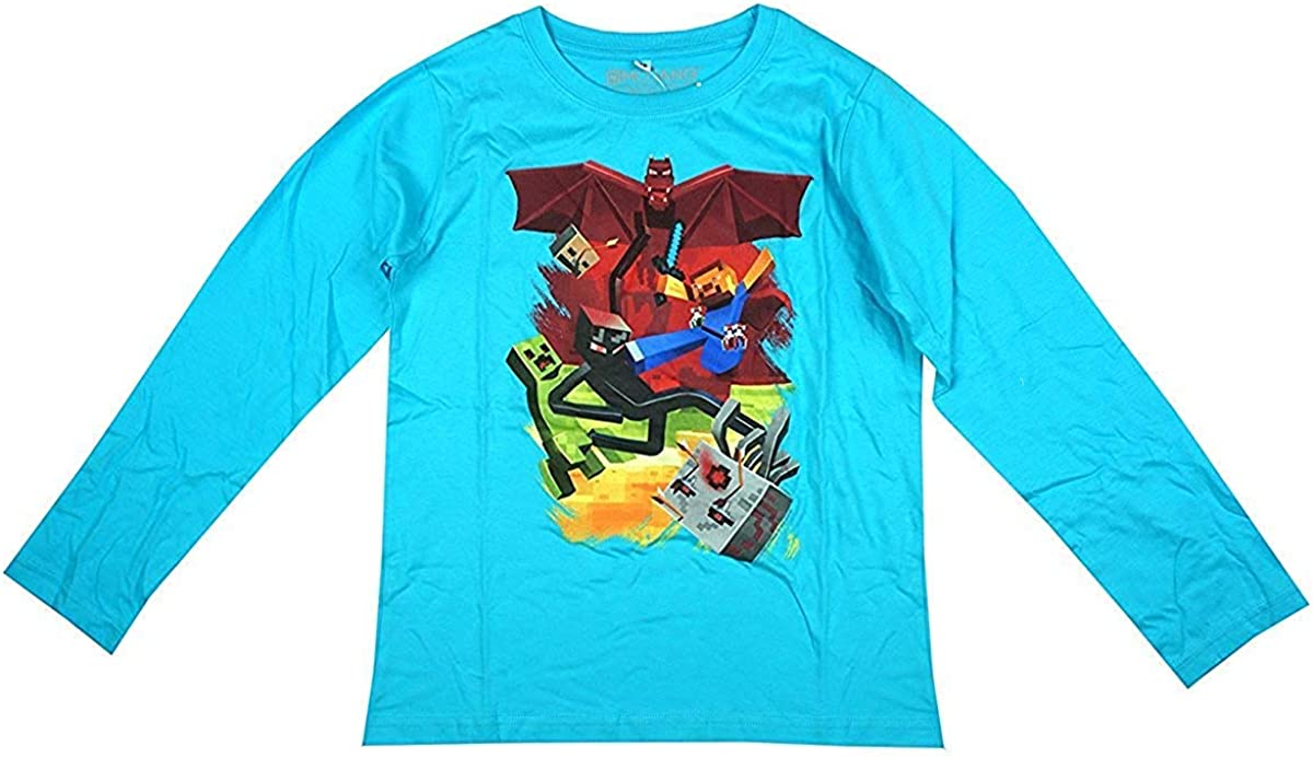 Mojang Boys Official Minecraft Samecube Red Dragon Long Sleeve Top Sizes from 8 to 16 Years