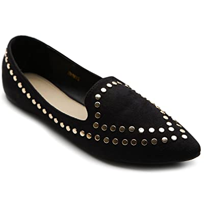 Ollio Women's Ballet Shoe Comfort Faux-Suede Studded Flat | Flats