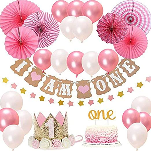 Set de decoraciones para niña de 1er cumpleaños, fiesta de cumpleaños para niña Baby Crown Crown Topper-