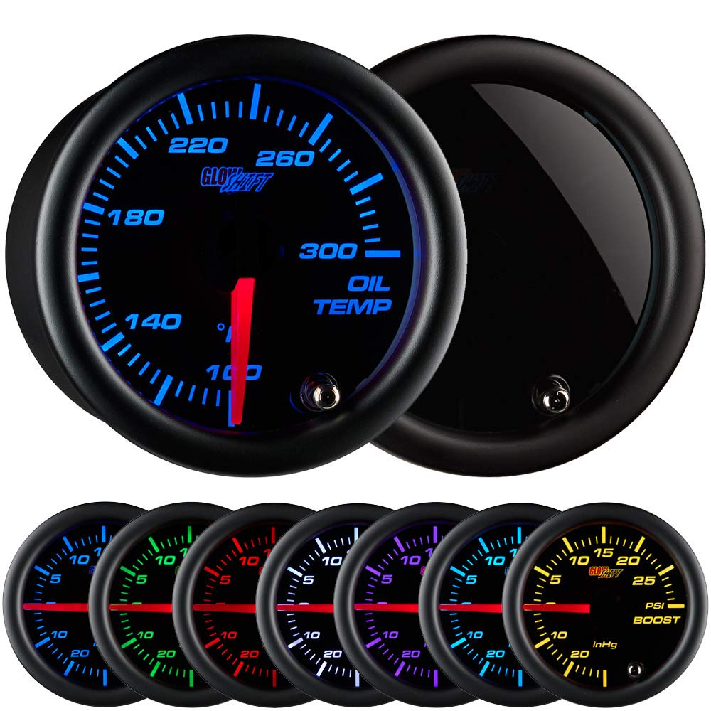 GlowShift Tinted 7 Color 300 F Oil Temperature Gauge Kit - Includes Electronic Sensor - Black Dial - Smoked Lens - for Car & Truck - 2-1/16'' 52mm by GlowShift